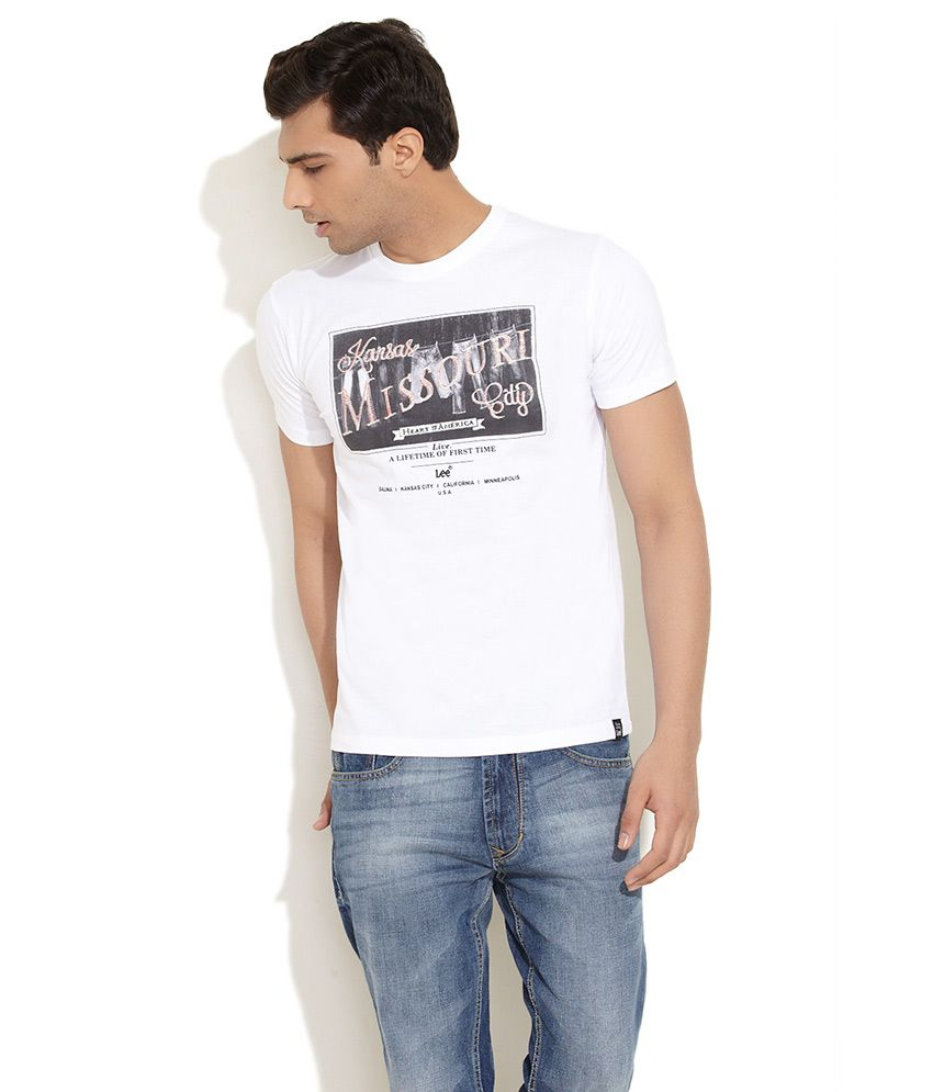 Lee White Kansas Printed T-Shirt