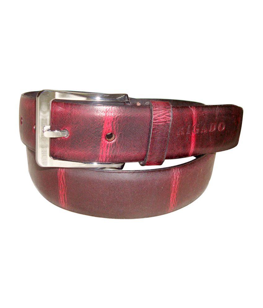 Rigado Maroon Genuine Formal Leather Belt for Men