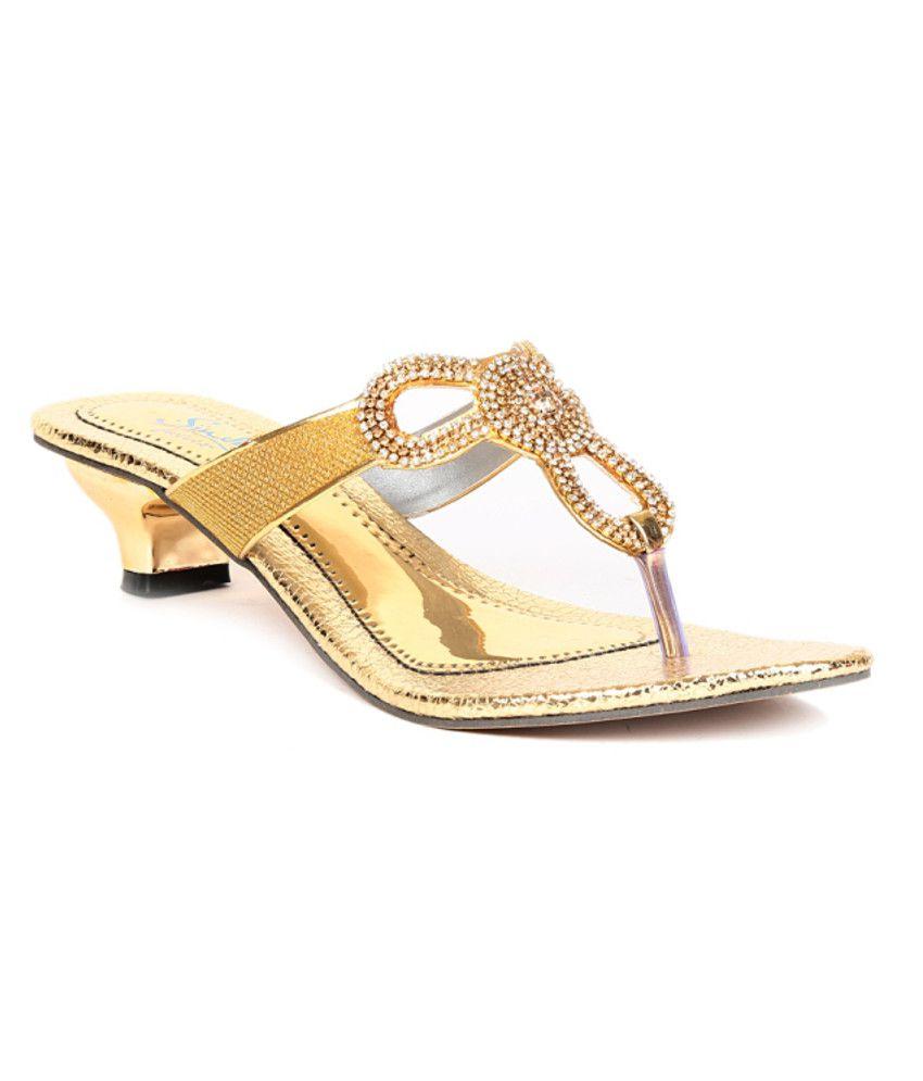 Sindhi Footwear Gold Heeled Slip-on