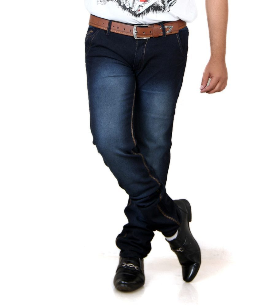 Acro Black Cotton Regular Fit Faded Men Trendy Jeans