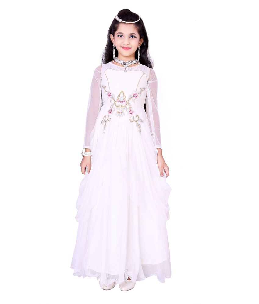 For Kids White Long Sleeveless Party Wear Dresses - Buy For Kids White Long  Sleeveless Party Wear Dresses Online at Low Price - Snapdeal 449080dc4