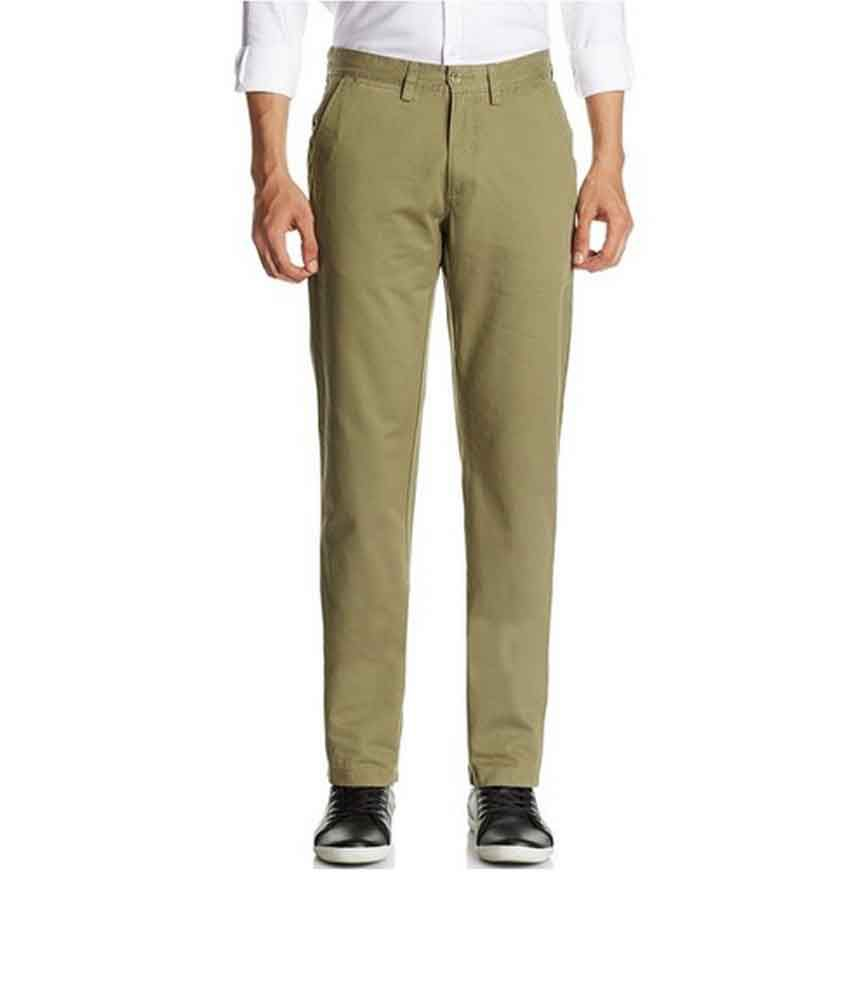 Inchgrow Green Cotton Comfort Flat Casuals Trousers