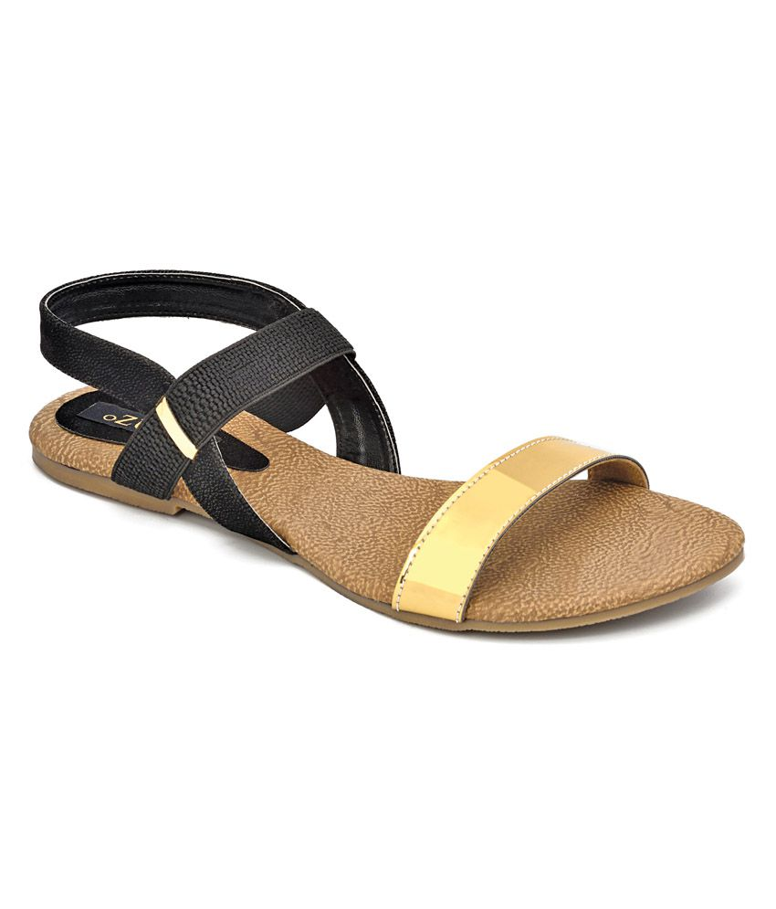 Ozuri Black Faux Leather Round Toe Casual Wear Sandal
