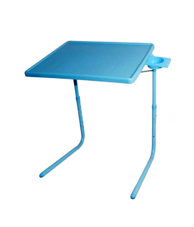 Hlp Blue Table Mate Ii 2 Folding Portable Adjustable Table With Cup Holder