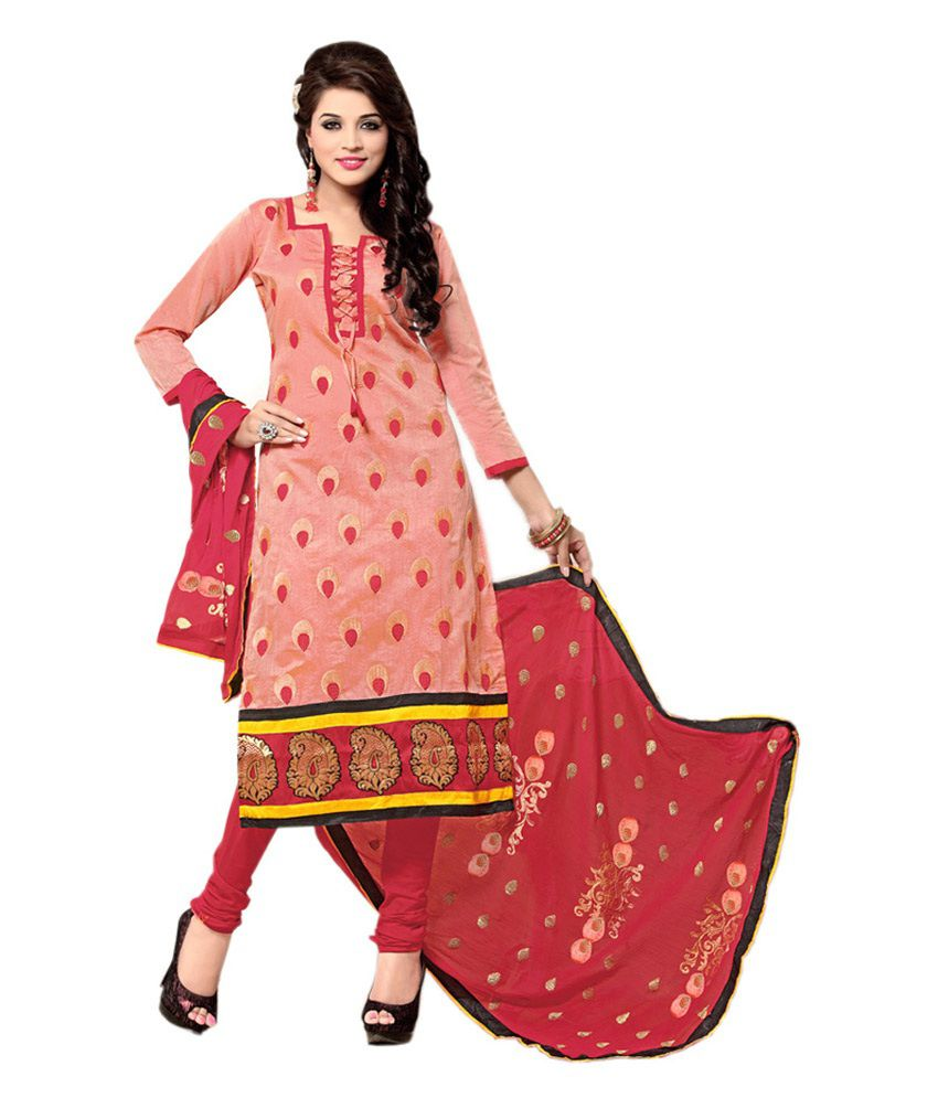 Krazzy2buy Red Embroidered Cotton A Line Semi Stitched Suit Semi Stitched Suit