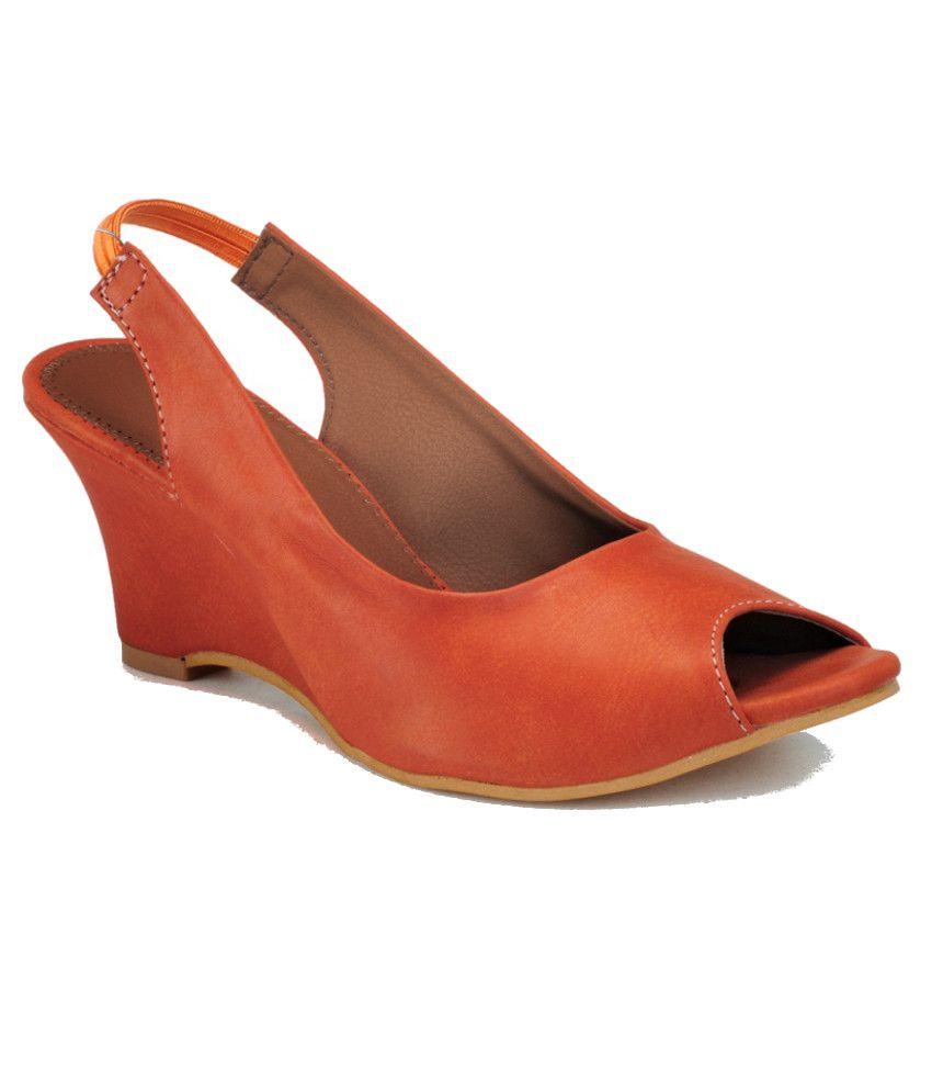 Nell Orange Wedges Sandals