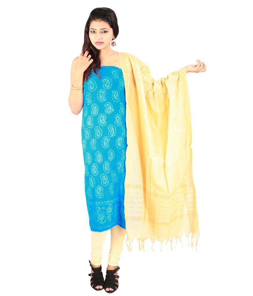 Pratami Turquoise Cotton Unstitched Dress Material