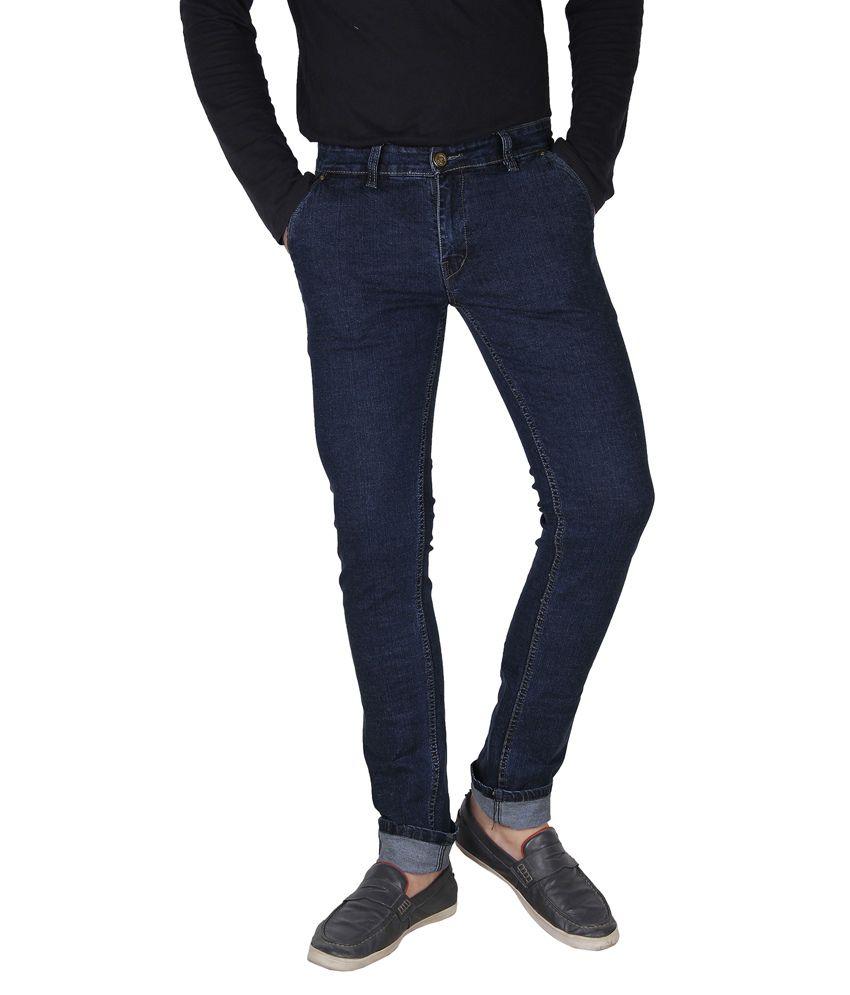 Crocks Club Blue Cotton Blend Slim Fit Basic Jeans For Men