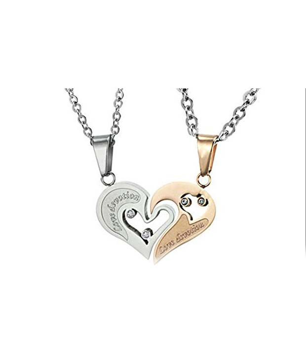 GirlZ Fashion Valentine Special Stainless Steel Titanium Heart Couple  Pendant Necklace With Chains (2 Pieces ...