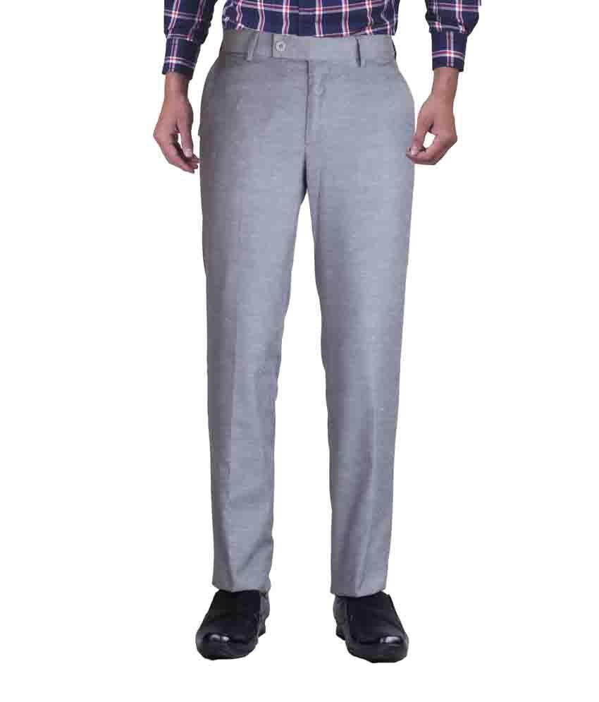 Kanva Gray Cotton Slim Fit Formal Trouser