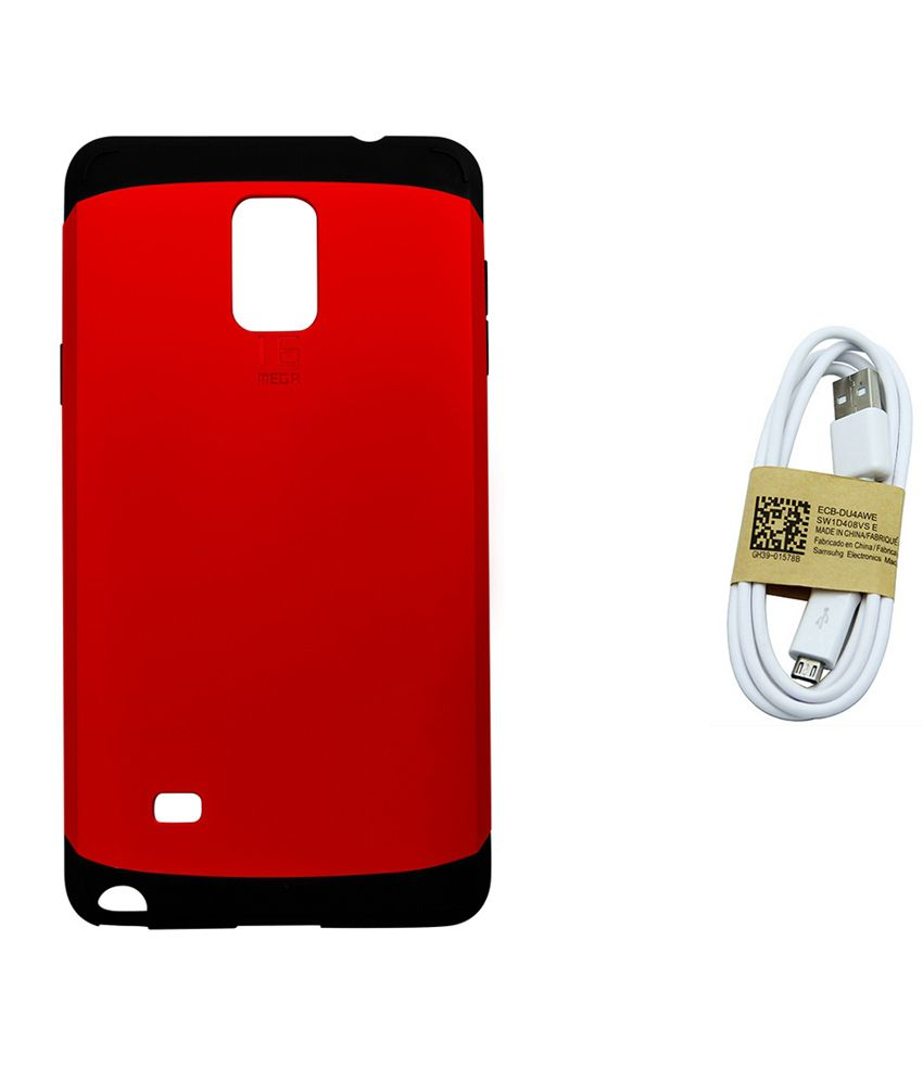 Ase Hard Back Cover For Samsung Galaxy Note 4 With Data Cable - Red