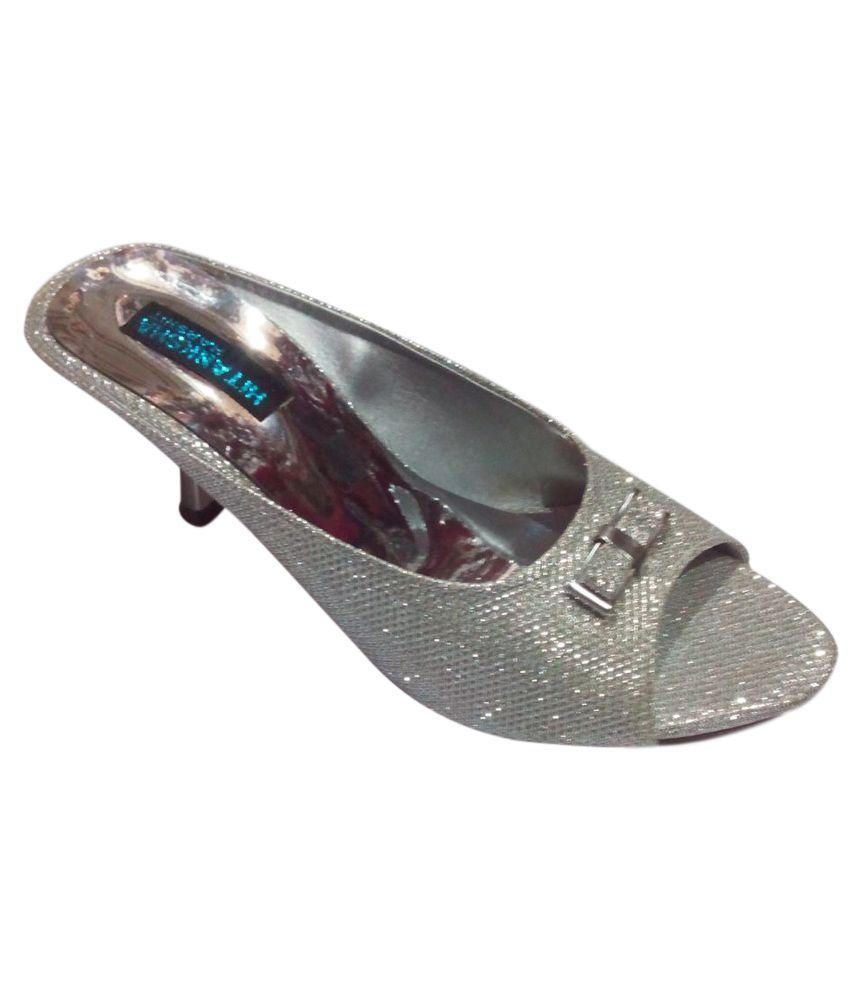 Harshit Footwear Silver Sequence Pencil Heel Sandal