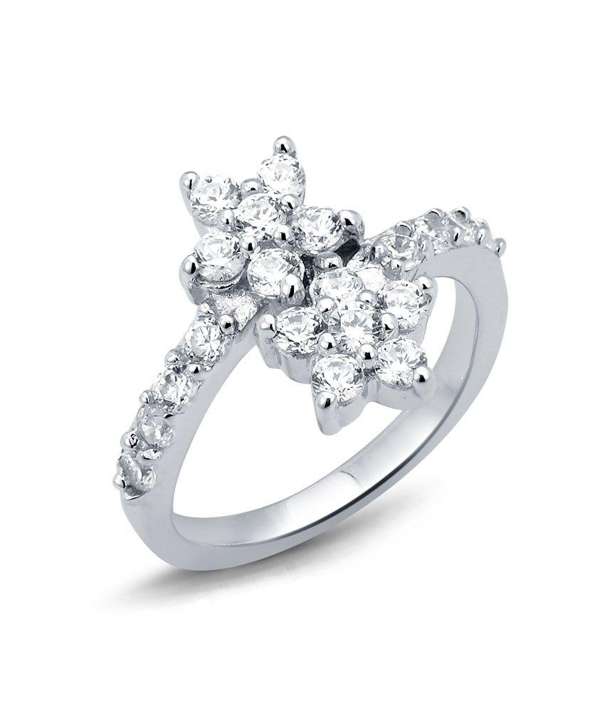 Tvesha Sterling Cluster Silver Ladies Ring
