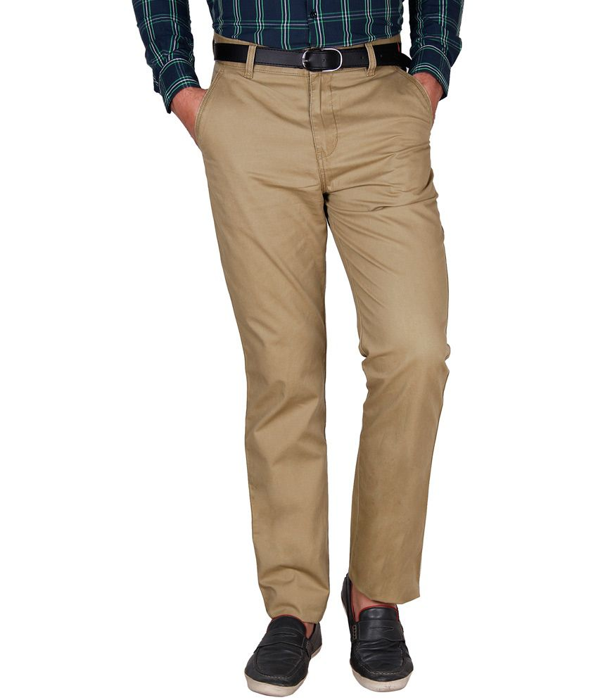 Crocks Club Khaki Cotton Regular Trouser For Men