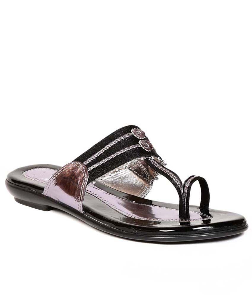 Eadams Black Flat Net Slippers