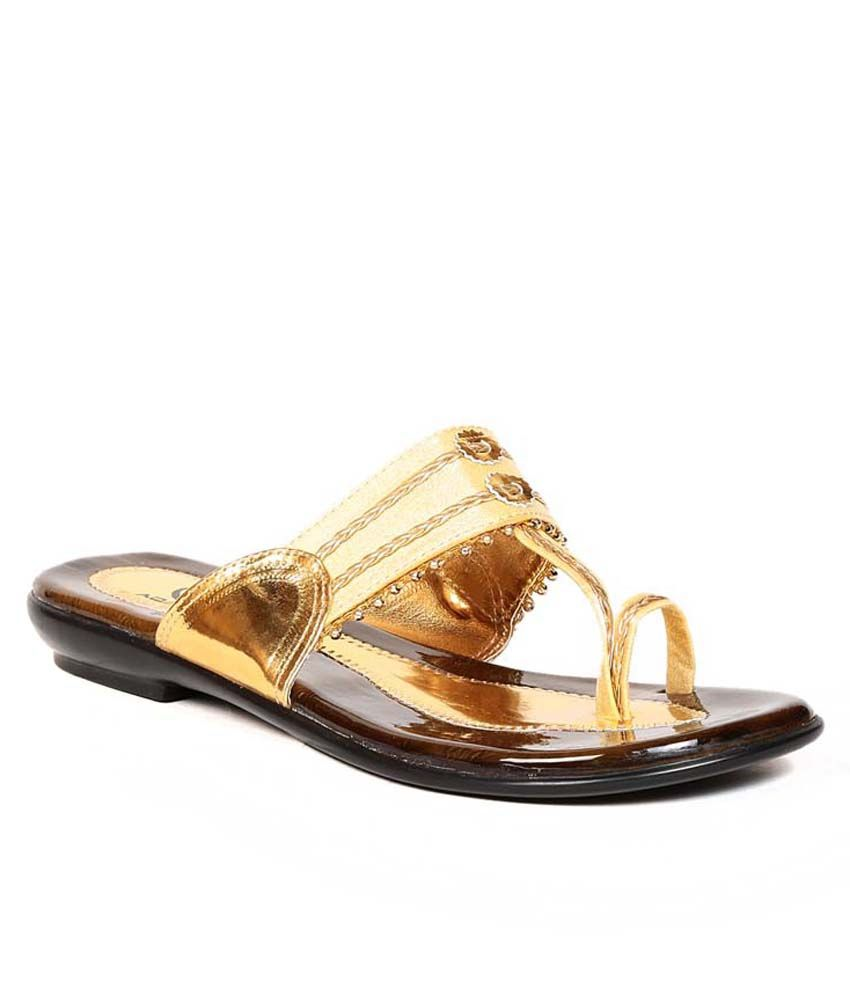 Eadams Gold Flat Net Slippers