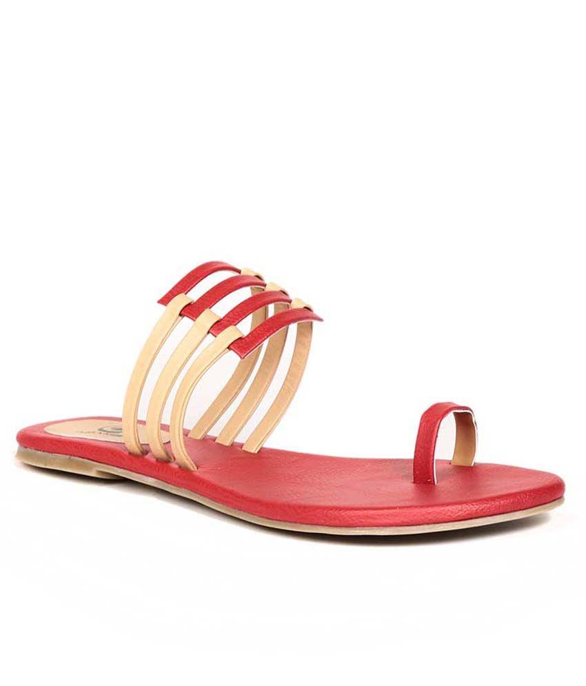 Eadams Red Flat Net Slippers