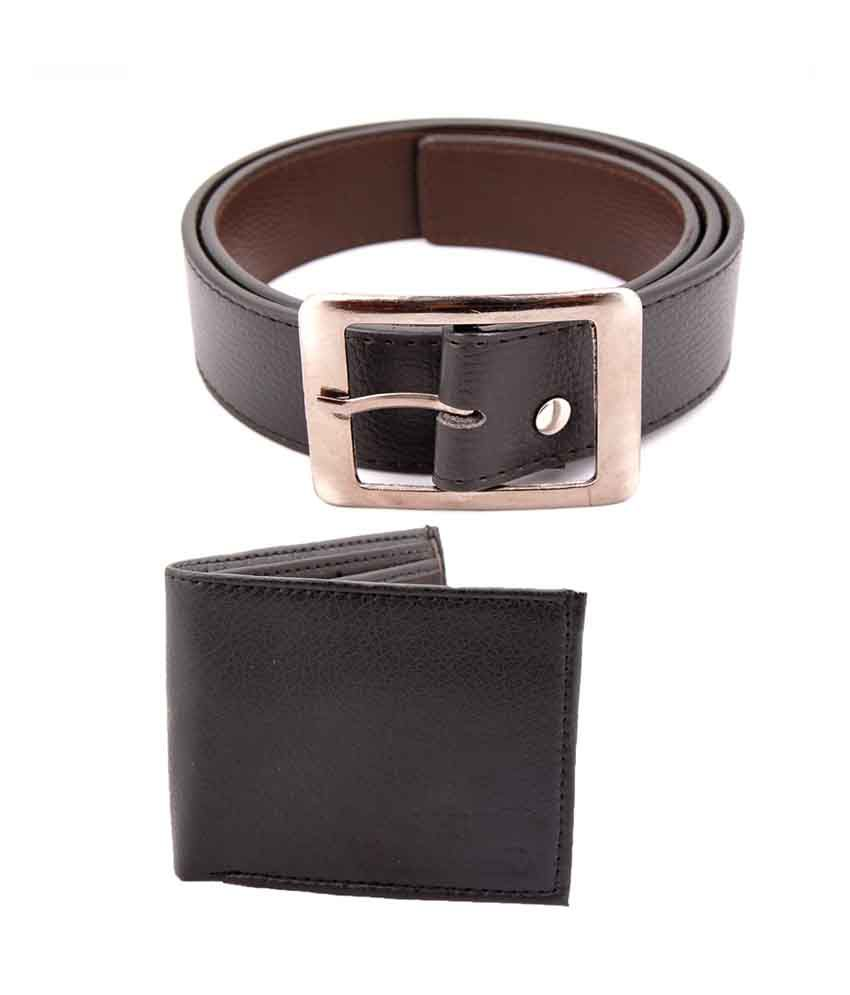 Nimya Black Leather Belt And Wallet Combo