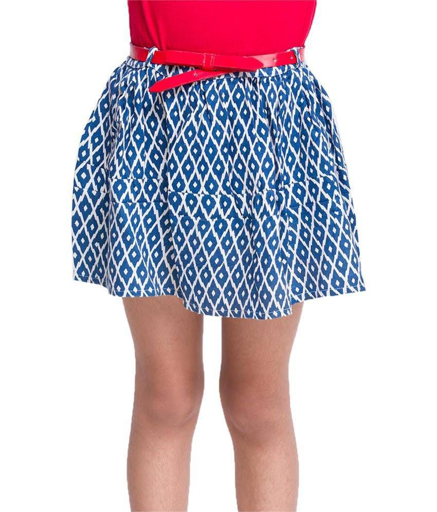 Oxolloxo Blue Printed Skirts