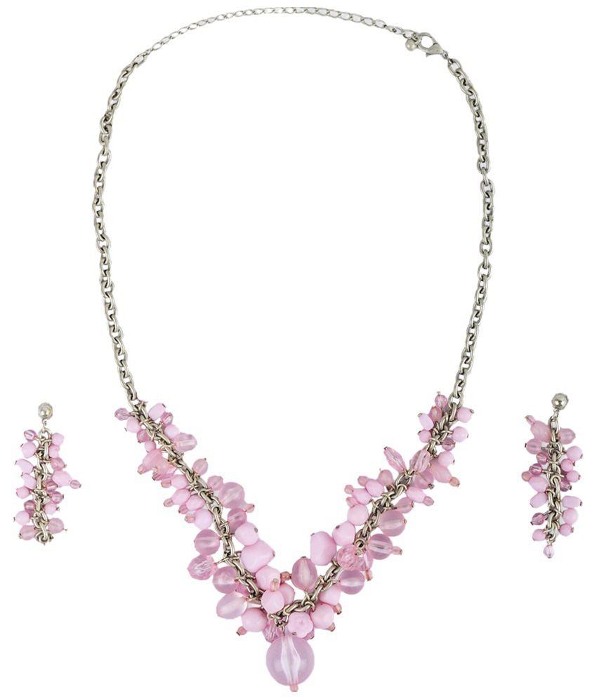 Ajara Pink Crystal Necklace Set