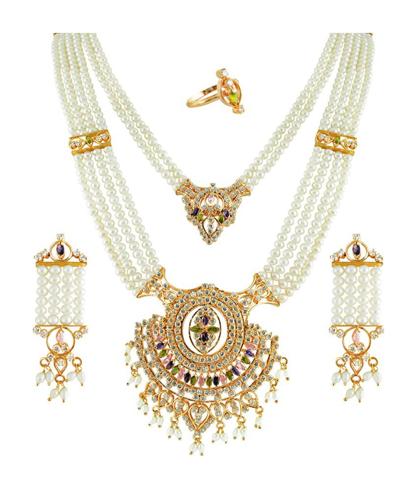 Sri Jagdamba Pearls Designer Rani Haar Necklace Set Buy
