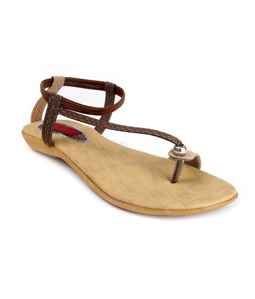 Artist Brown Open Toe Faux Leather Sandal