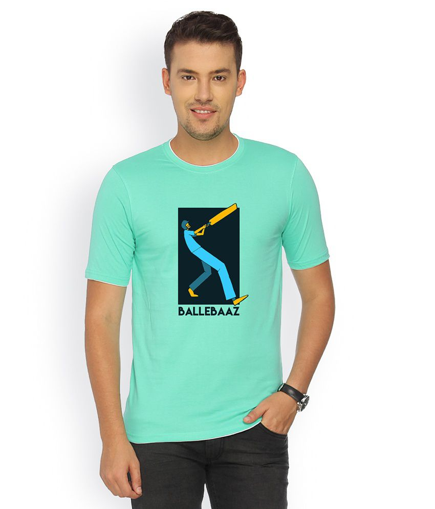 Campus Sutra Turquoise Cotton T-shirt