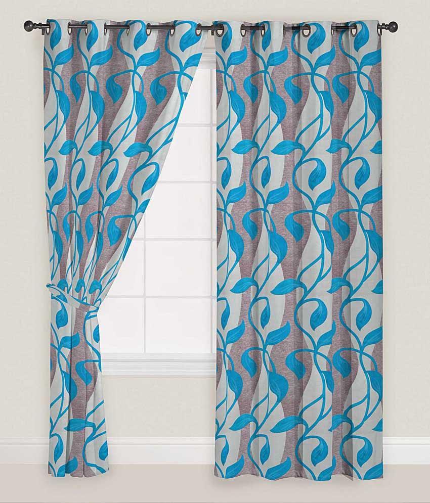 Presto Set of 2 Window Eyelet Curtains Floral Blue