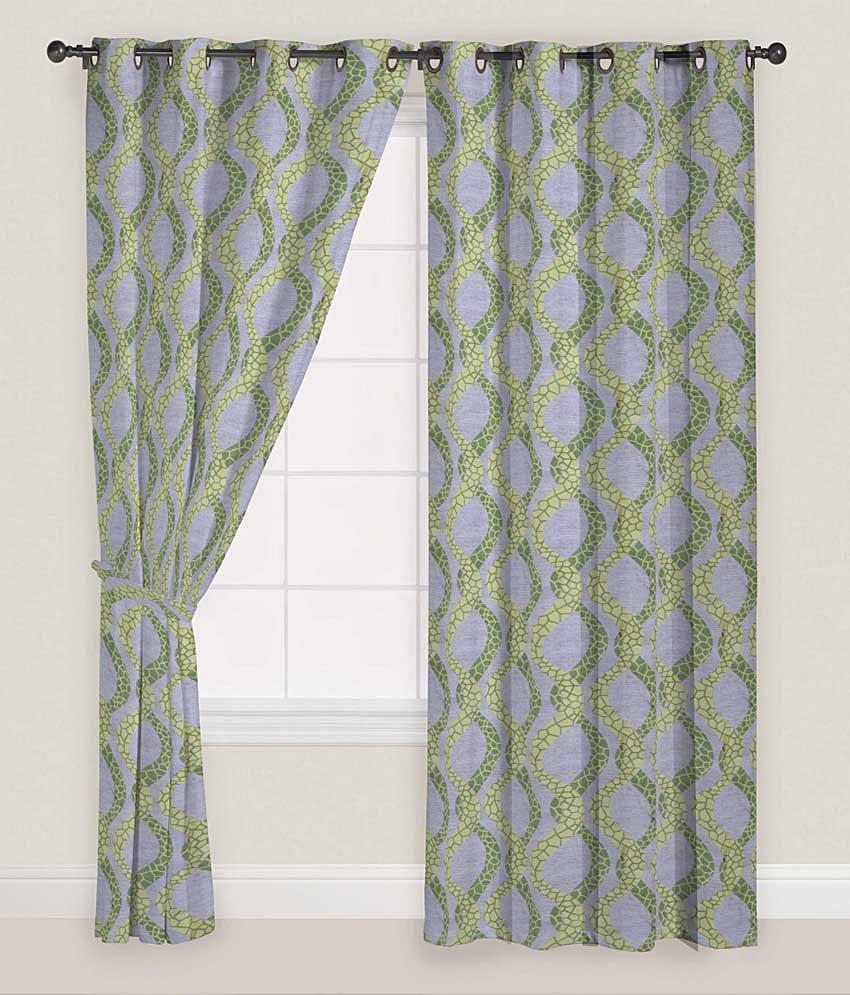 Presto Set of 2 Long Door Eyelet Curtains Contemporary Green