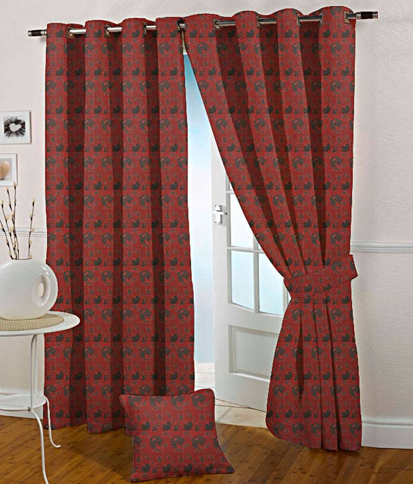 Presto Set of 2 Door Eyelet Curtains Floral Red