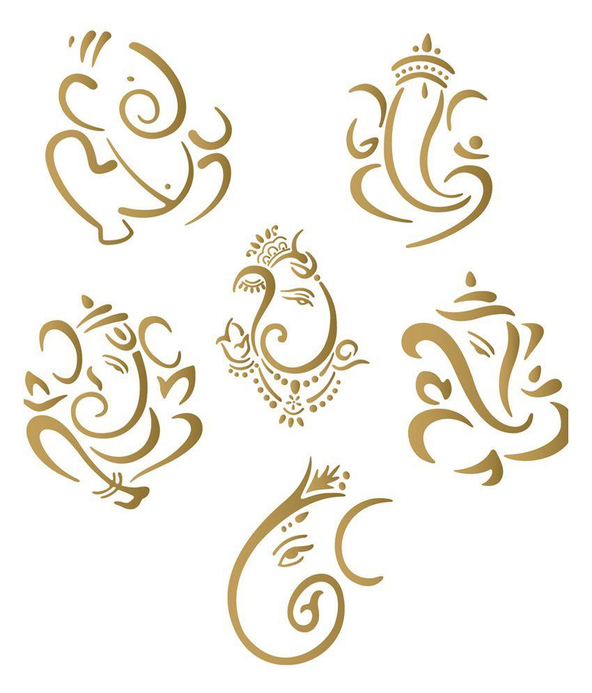 Bike stickers design india - Walldesign Mini Ganesha Set Of 6 Bike Sticker Gold