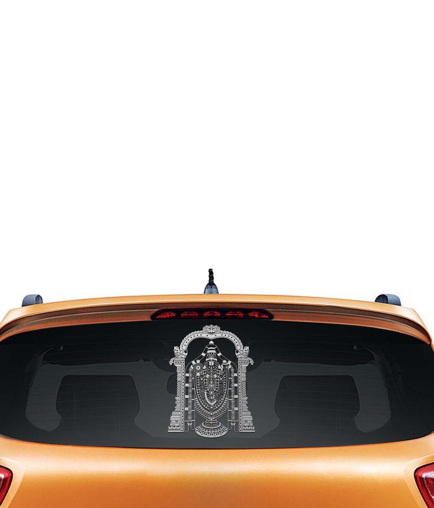 Walldesign Tirupati Venkateshwara Car Sticker - Silver
