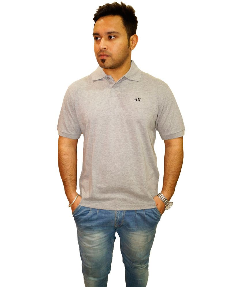 Auxamis Gray Cotton Blend Half Sleeve T Shirt