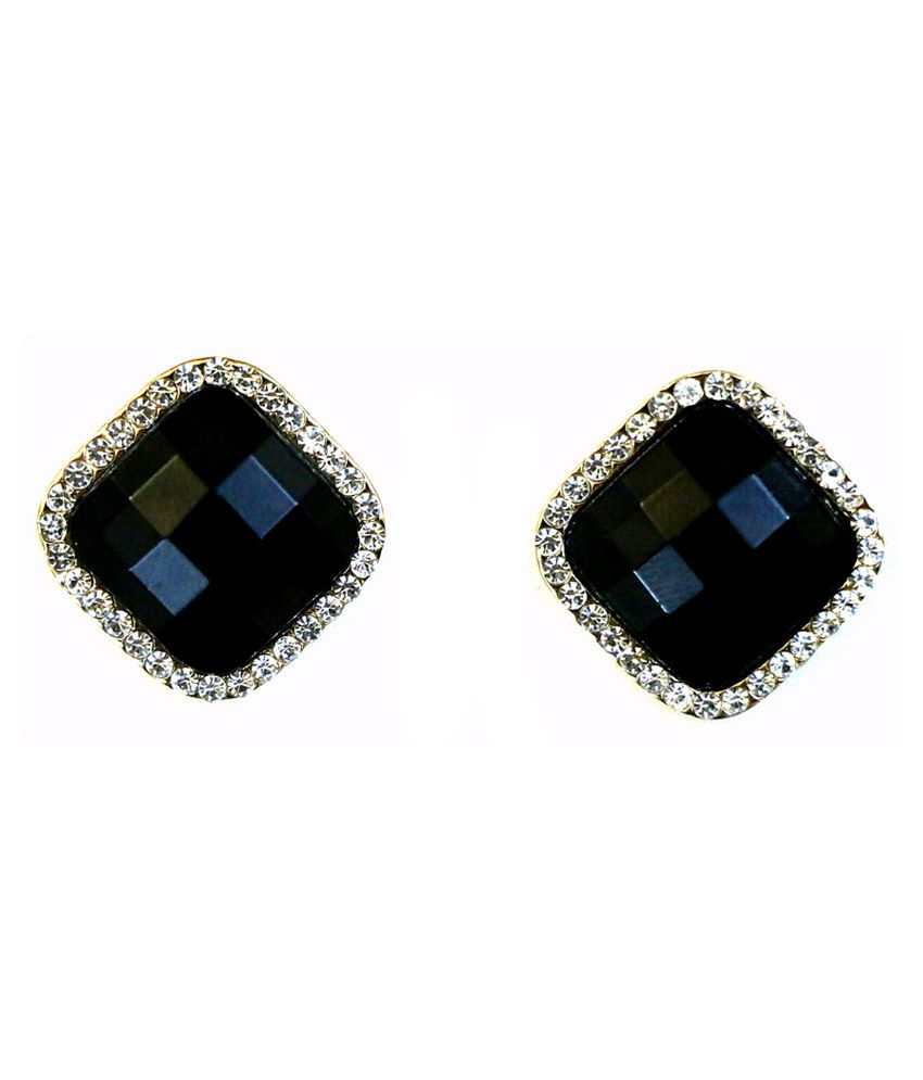 Jiya Fashion Pretties Diamond Shape Black Stone Studded Earrings