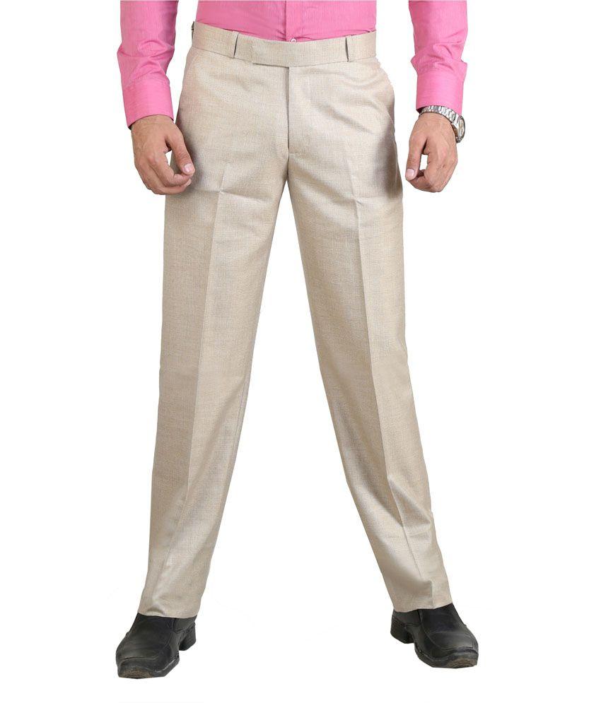 Vituda Gold Flat Cotton Blend Formals Regular Men Trouser