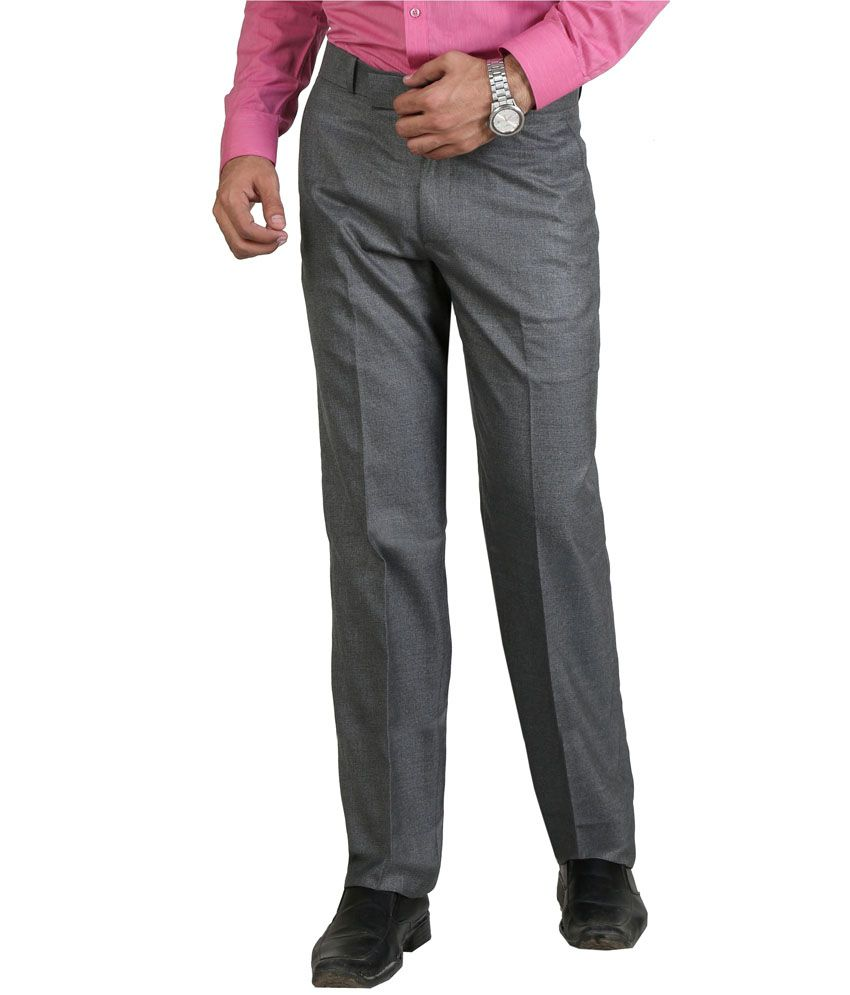Vituda Gray Flat Cotton Blend Formals Regular Men Trouser
