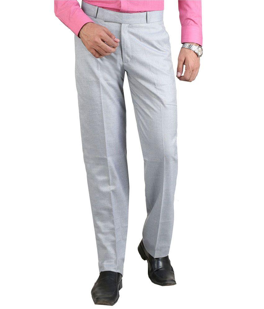 Vituda Gray Flat Cotton Blend Formals Regular Men Trouser