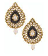 The Jewelbox Black Meenakari Enamel Pearl Gold Plated Pear Drop Ethnic Earring