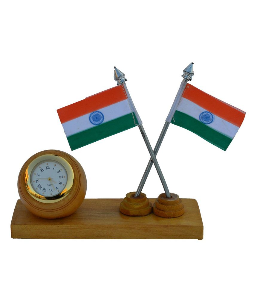 Ecraftindia Wooden Table Clock With 2 National Flags