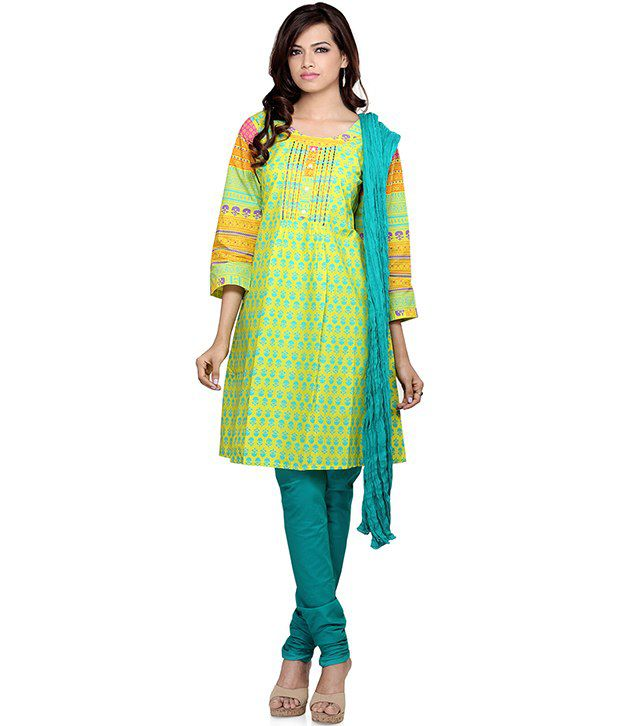 Indusdiva Cotton Straight Cut Kameez And Churidaar