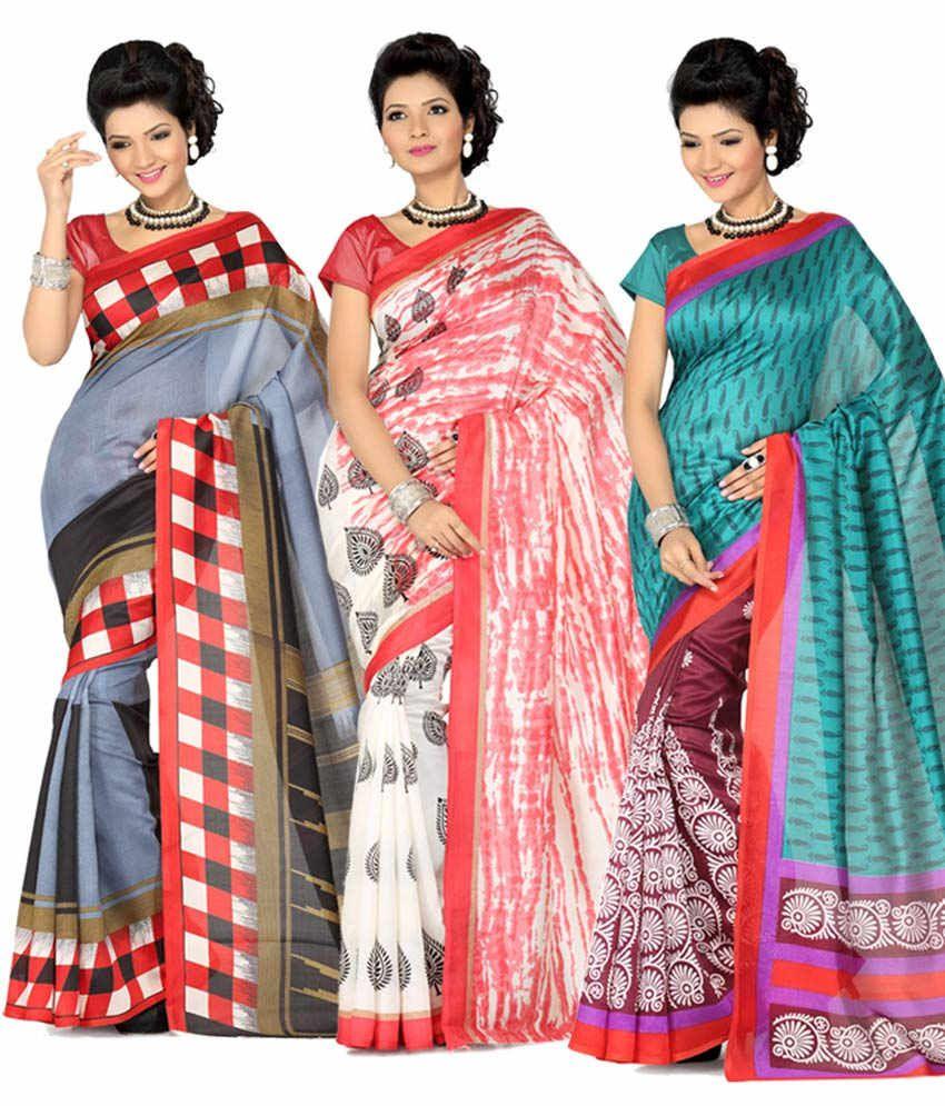 Ishin Multicolor Art Silk Sarees - Pack Of 3
