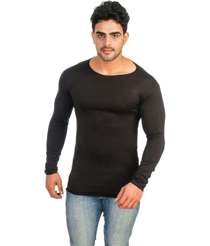 Black t shirt low price -  Lycra Black Cotton Blend Round Neck Full Sleeves T Shirt