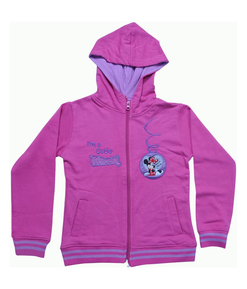 Mintees Pink Cotton Patch Work Cutie Minnie Hooded Sweatshirt