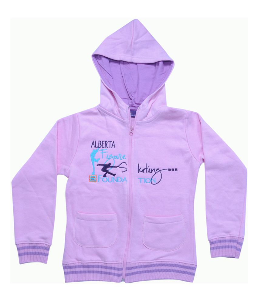 Mintees Pink Cotton Patch Work Skating Foundation Hooded Sweatshirt