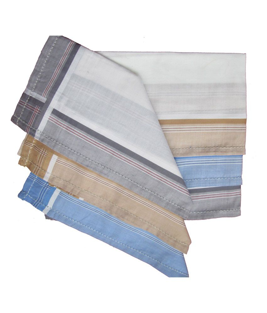 My Handy Zofil Multicolour Handkerchief With Color Border - Pack Of 6