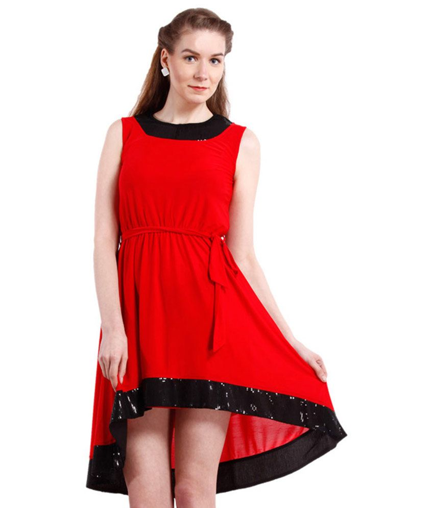 Peptrends Red Polyester Dresses