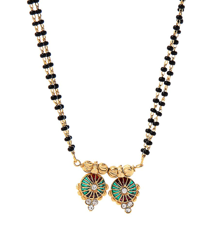 Goldnera Red Green Traditional Mangalsutra With Black Beaded Chain