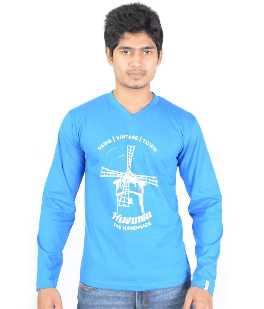 Hueman Blue Cotton Printed Full Sleeve V-neck T-shirt