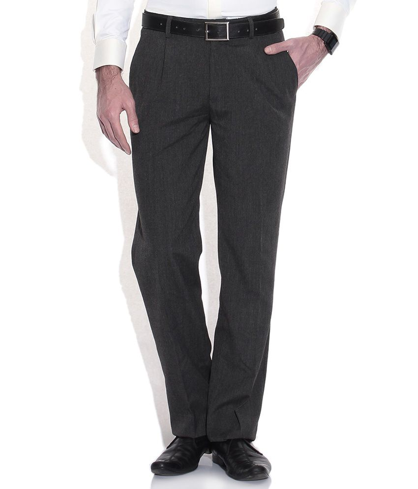 John Players Gray Cotton Slim Trousers
