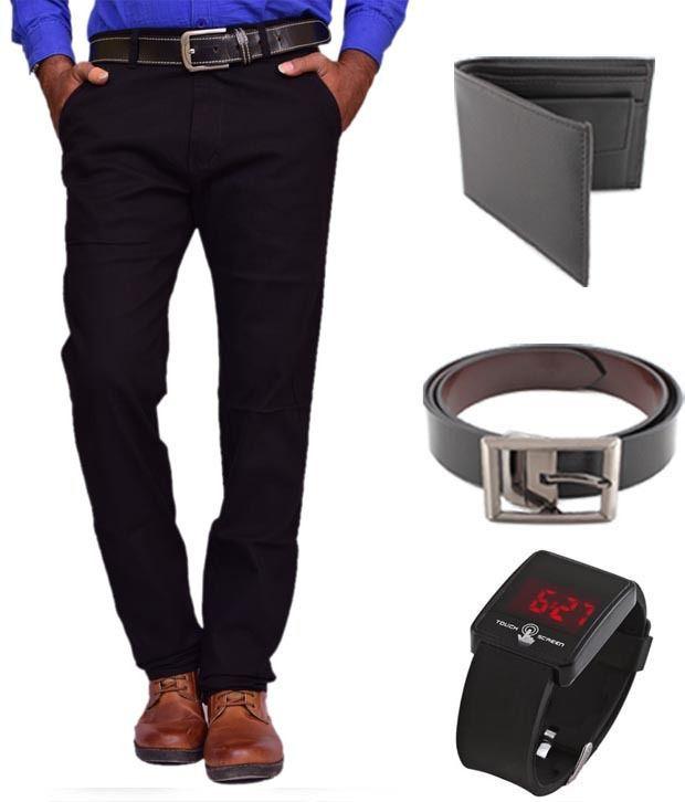 Keepsake Black Chinos , Watch , Belt , Wallet Combo